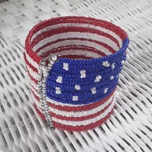 NWOT Patriotic Red, Wht, & Blue Flag Cuff Bracelet